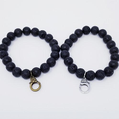 Black Lava Rock Beaded Starter Bracelet