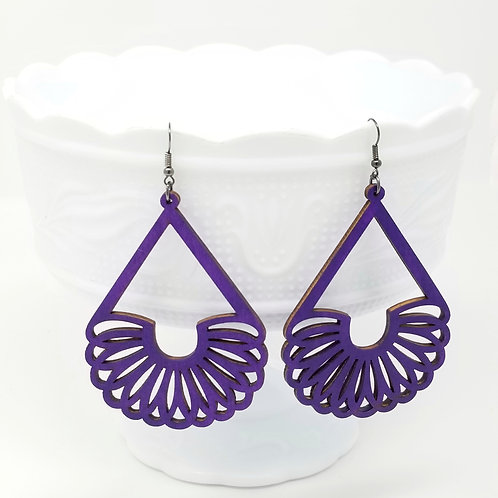 Purple Wood Earrings