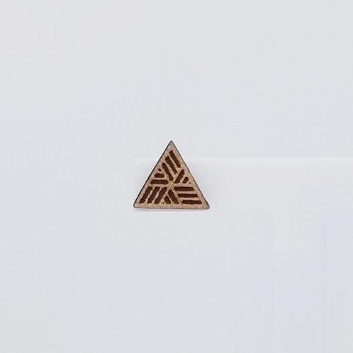 Lined Triangle Wood Stud Earrings