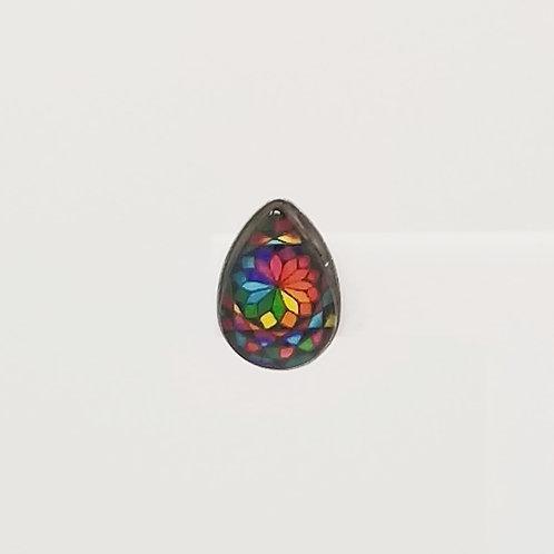 Stained Glass 10x14mm Tear Drop Stud Earrings