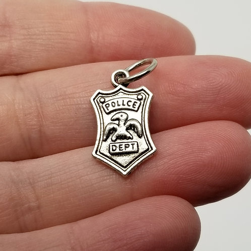 Police Badge Silver Charm
