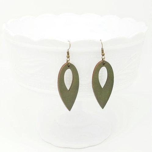 Olive Green Wood Earrings