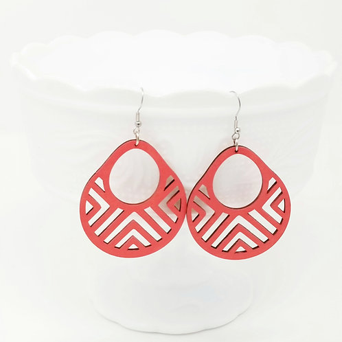 Chevron Basket 2 Wood Earrings (Additional Colors Available)