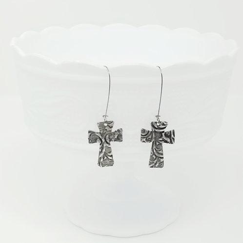 Long Small Cross 4 Molten Solder Earrings