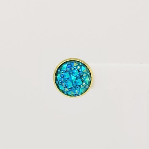 Blue Ornament Cabochon 12mm Stud Earring