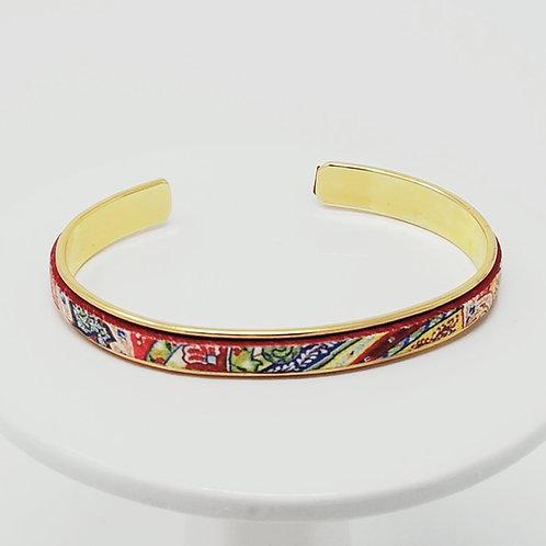 Red Edge Floral Adjustable Leather & Metal Cuff Bracelet