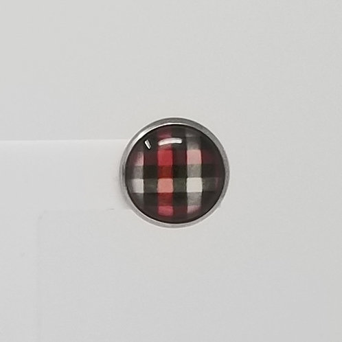 Red, Black & White Plaid 12mm Round Stud Earrings