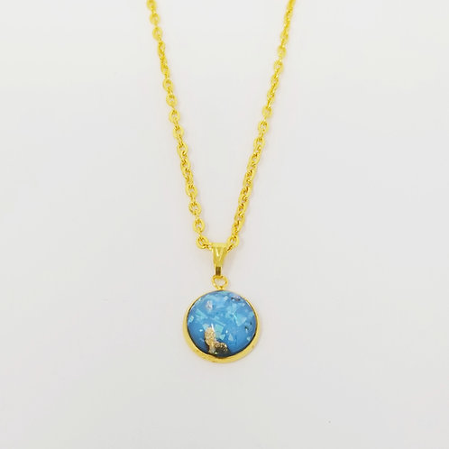 Blue Opal Gold in Gold Cabochon Pendant Necklace