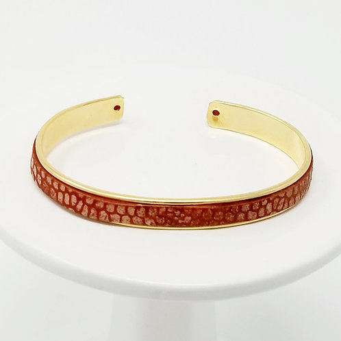 Red with Cream Spots Adjustable Leather &Metal Cuff Bracelet