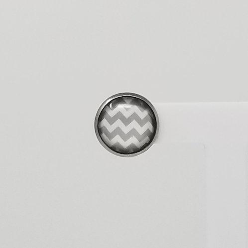 Grey Chevron 12mm Round Stud Earrings