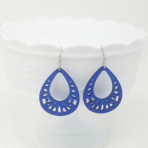 Royal Blue Wood Earrings