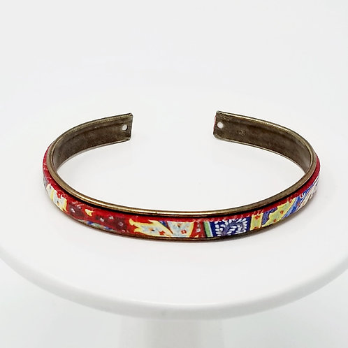 Illusion Print Adjustable Leather & Metal Cuff Bracelet