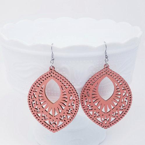 Salmon Pink Wood Earrings