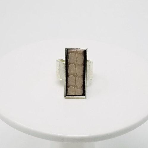 Grey Embossed Leather & Metal Ring