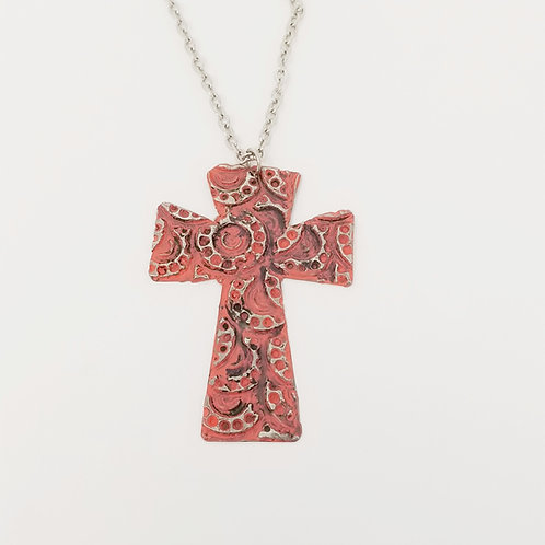 Long Coral Cross Molten Solder Necklace 2