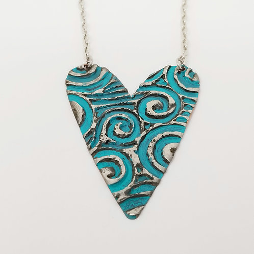 Long Turquoise Heart Molten Solder Necklace 4