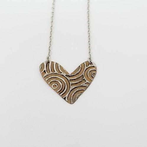 Short Bronze Heart Molten Solder Necklace 29