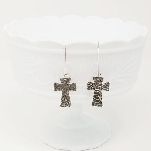 Long Small Cross 5 Molten Solder Earrings