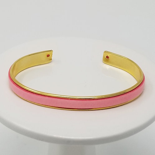 Pink Adjustable Leather & Metal Cuff Bracelet