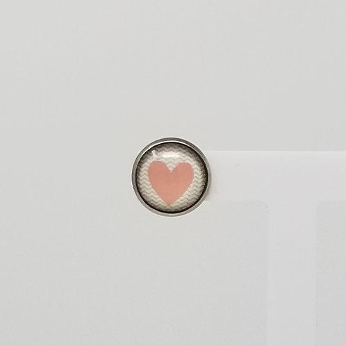 Sweet Peach Heart 12mm Round Stud Earrings