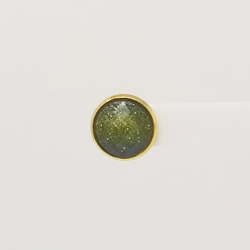 Green Gold Cabochon 12mm Stud Earrings