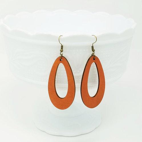 Burnt Orange Wood Earrings
