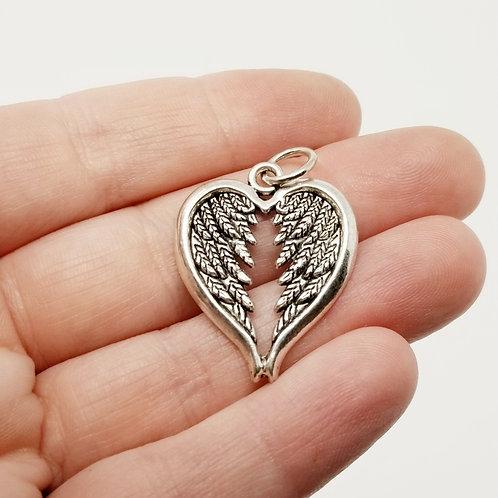 Heart Angel Wings Silver Charm