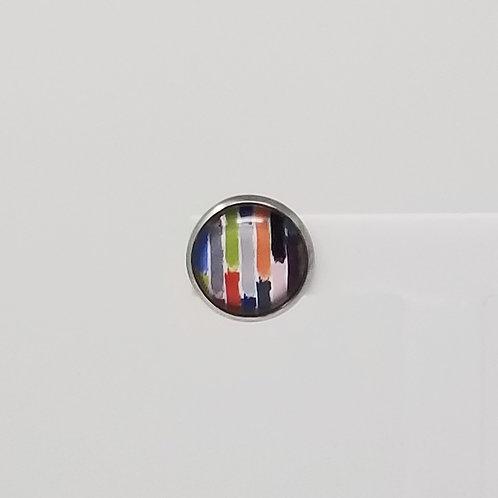Rainbow Bricks 12mm Round Stud Earrings