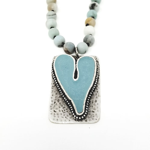 Long Beaded Pale Blue Heart Ice Resin Necklace 11