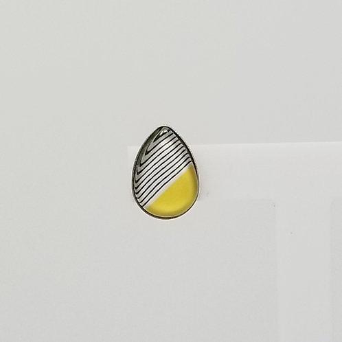 Half Yellow Half Stripped 10x14mm Tear Drop Stud Earrings