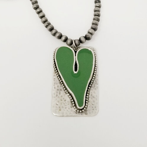 Long Beaded Green Heart Ice Resin Necklace 7