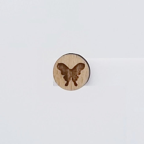 Butterfly Circle Wood Stud Earrings