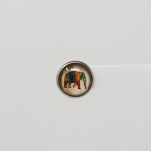 Rainbow Elephant 12mm Round Stud Earrings