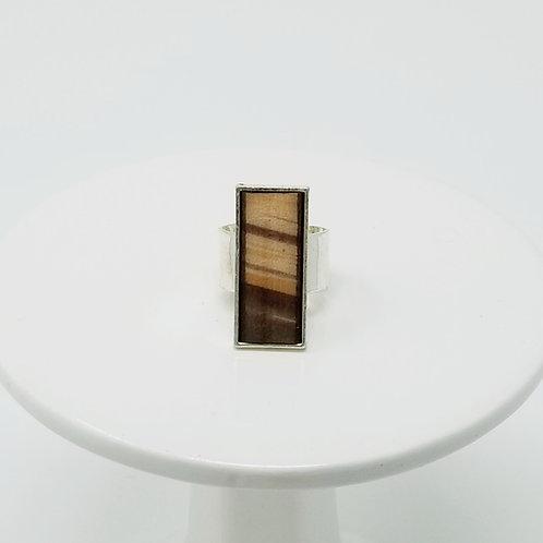 Brown Splash Leather & Metal Ring