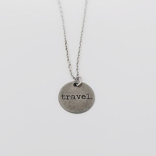 """Travel"" Word Pendant Necklace"