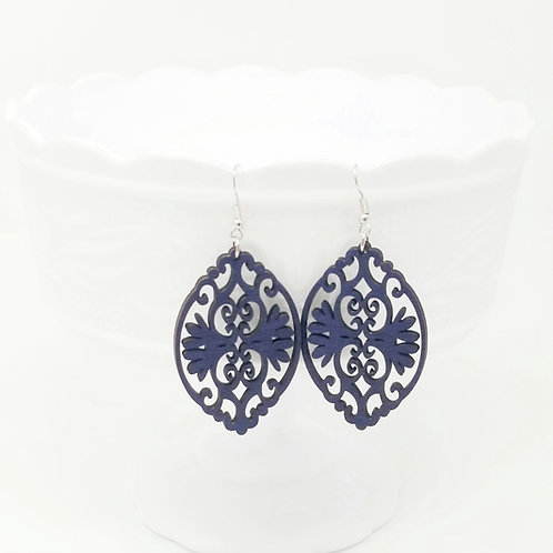 Navy Blue Wood Earrings