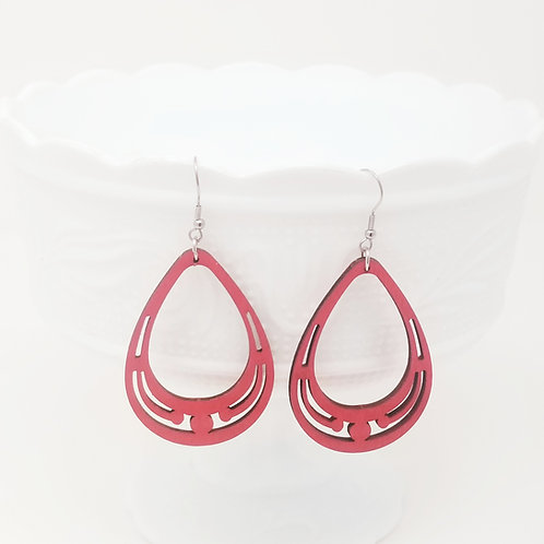 Red Wood Earrings