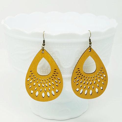 Mustard Yellow Wood Earrings