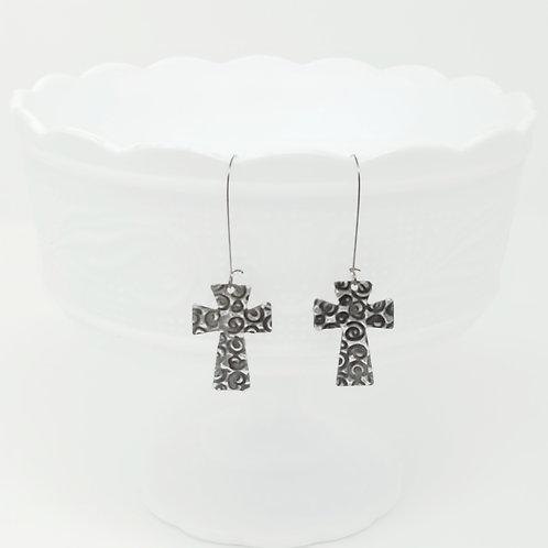 Long Small Cross 7 Molten Solder Earrings