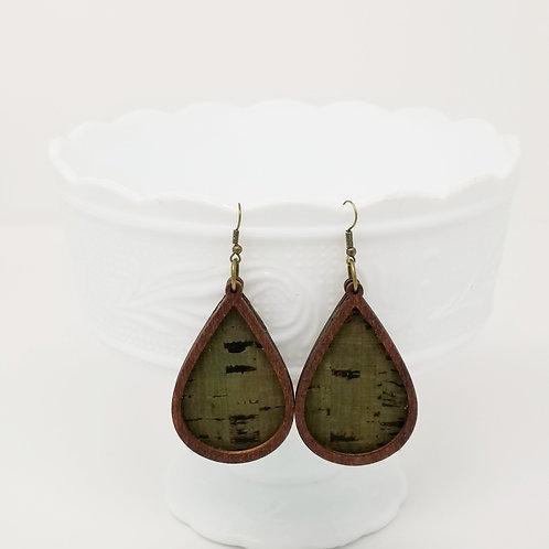 Khaki & Black 2 Cork Fabric & Wood Earrings