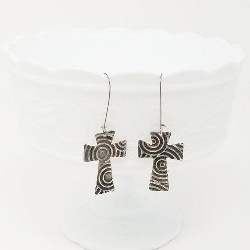 Long Large Cross Molten Solder Earrings