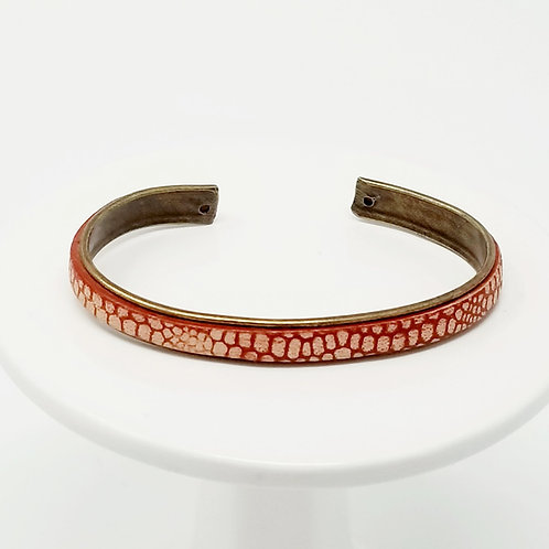 Red with Cream Spots 2 Adjustable Leather & Metal Cuff Bracelet