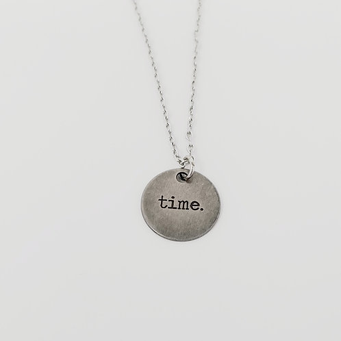 """Time"" Word Pendant Necklace"