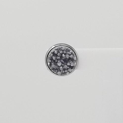 Matte Grey Faux Druzy 12mm Stud Earrings