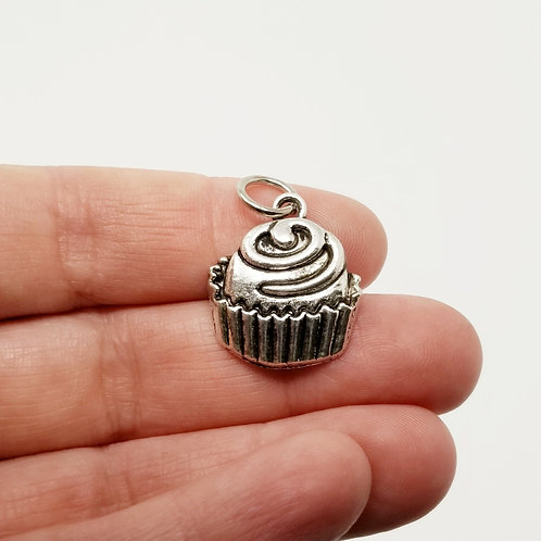Fancy Cupcake Silver Charm