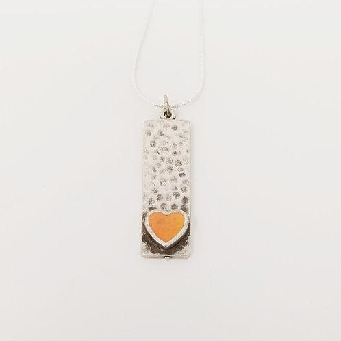 Short Orange Narrow Heart Ice Resin Necklace 2