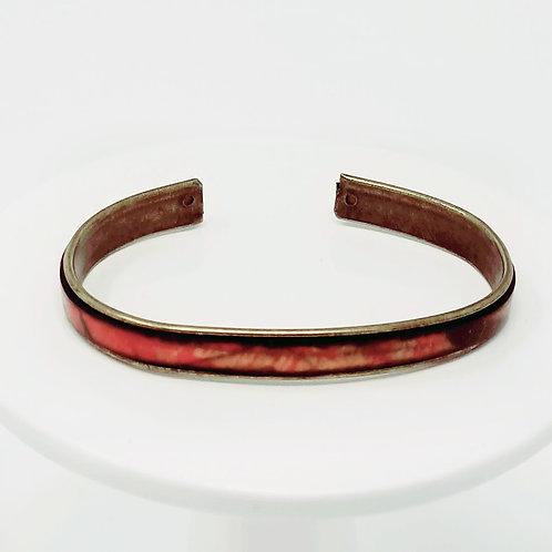 Autumn Brushstroke Adjustable Leather & Metal Cuff Bracelet