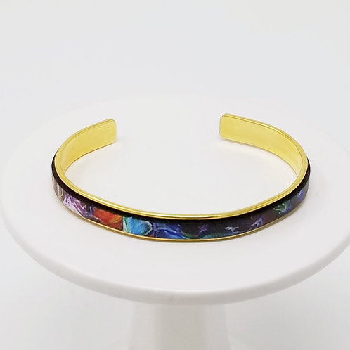 Starry Night Adjustable Leather & Metal Cuff Bracelet