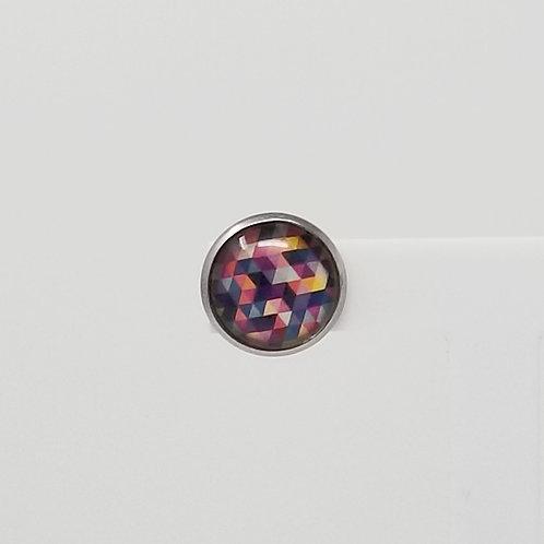 Rainbow Geometric 12mm Round Stud Earrings