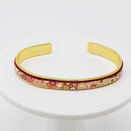 Fancy Print 2 Adjustable Leather & Metal Cuff Bracelet